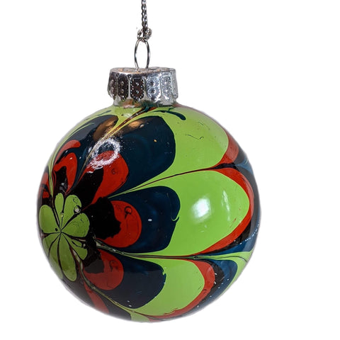 Marbled Glass Ornament, Flower Power-Fullamoon Designs