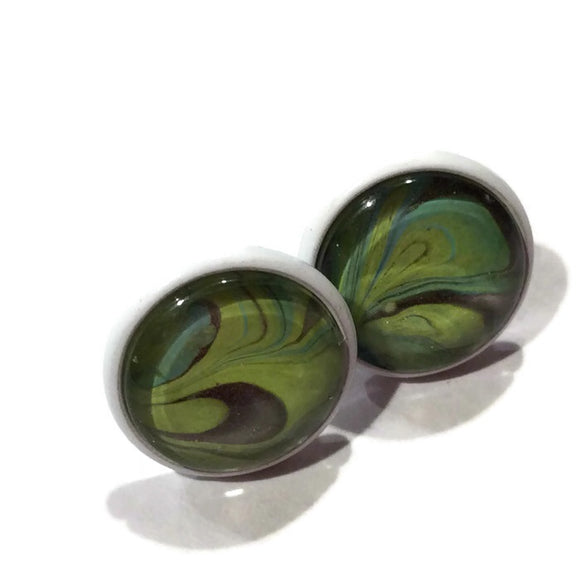 water marble hand painted earrings studs Olive Green Black and Blue