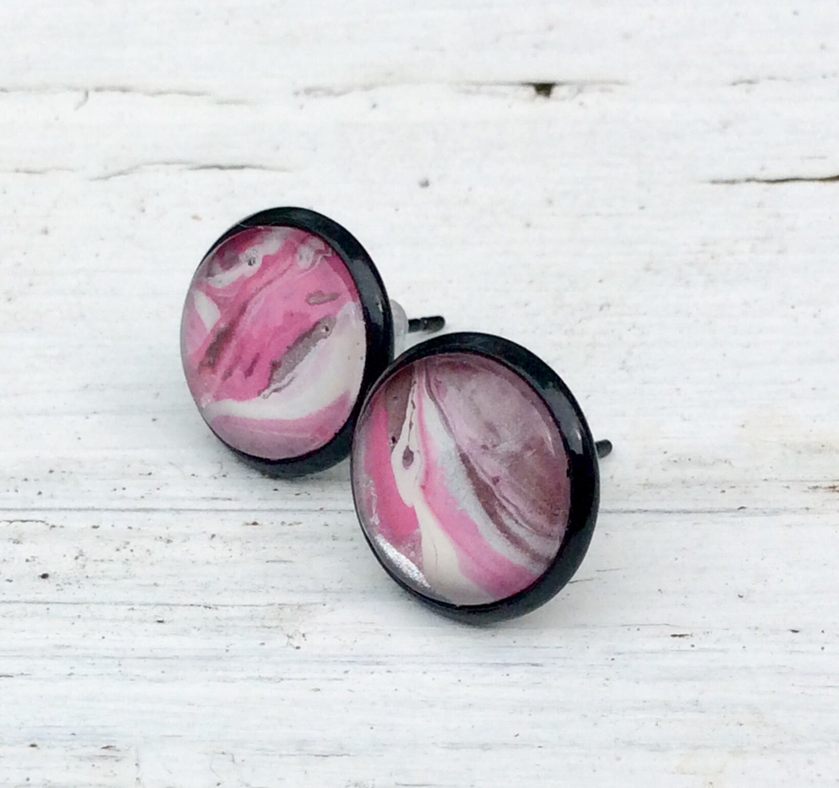 Earrings, Abstract Studs in Pink, White and Black