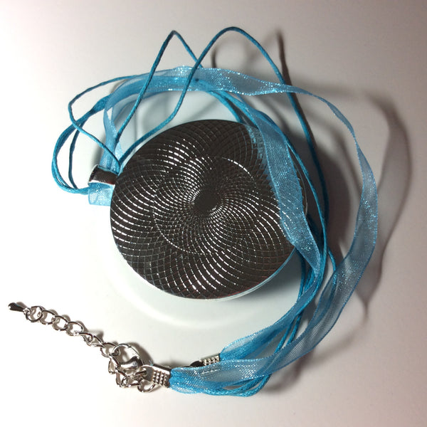 Large Round Pendant Necklace, Undulating Blue Waves-Jewelry-Fullamoon Designs