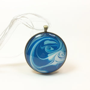 Mega Necklace, Blue Undulating Waves-Jewelry-Fullamoon Designs