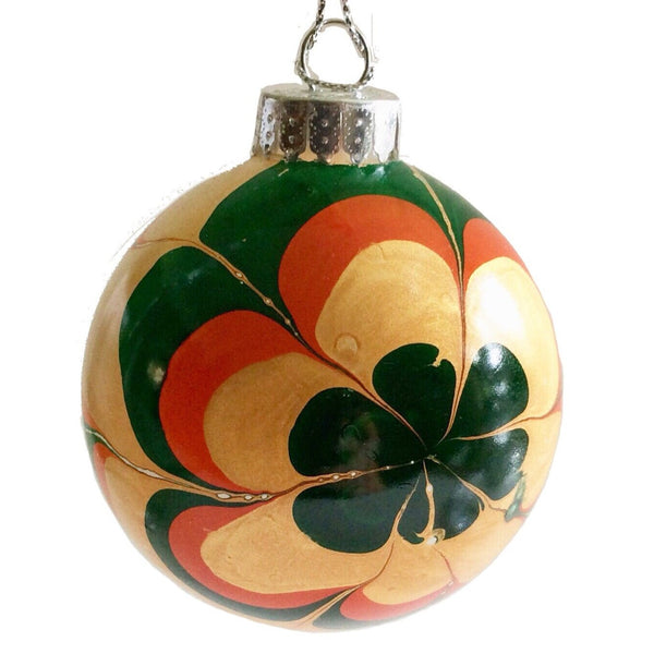 Marbled Glass Ornament, Autumn Flower