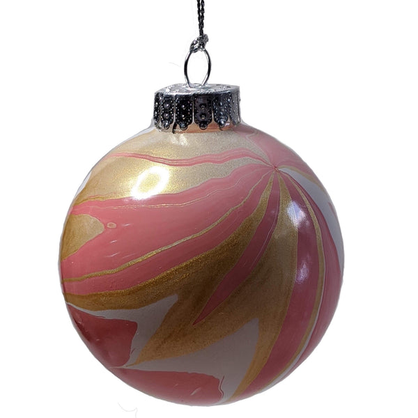 Marbled Glass Ornament, Delicate Pink Flower-Fullamoon Designs