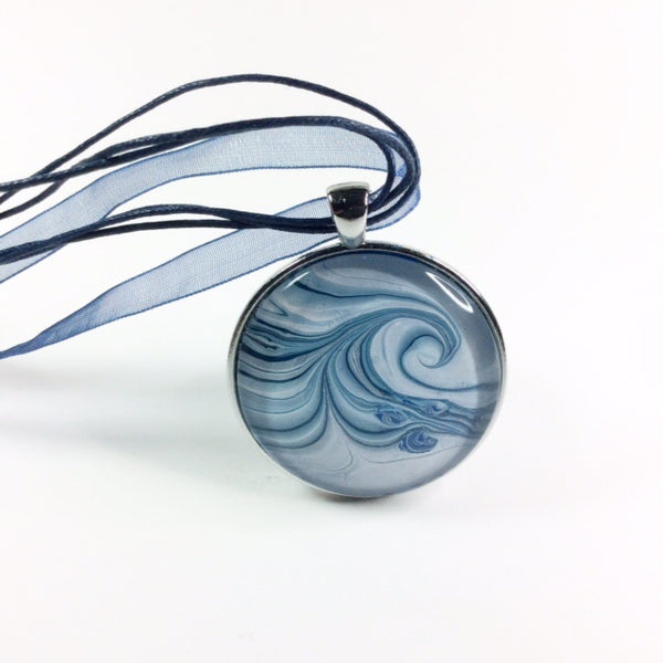 Ebru Painted Wave Pendant