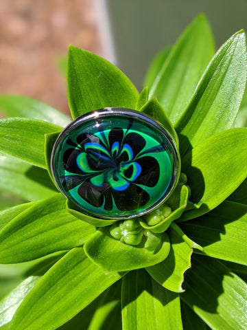 Statement Ring, Black, Blue and Green Floral