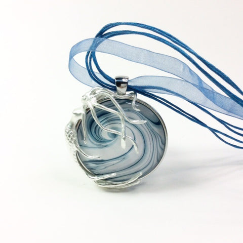 Mermaid Pendant Necklace, Surfing Ocean Wave-Jewelry-Fullamoon Designs