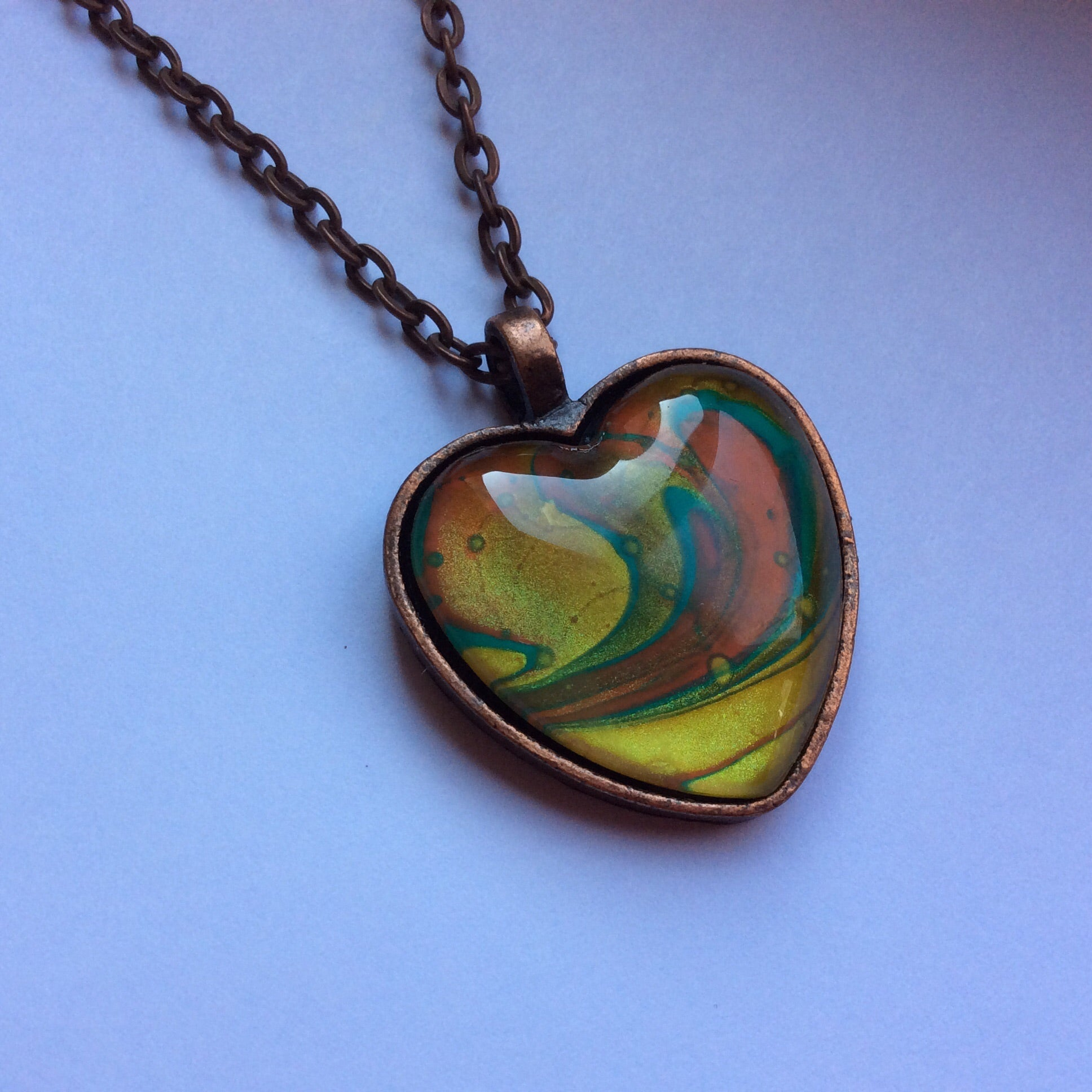 Heart Pendant Necklace, Aqua Gold & Peach