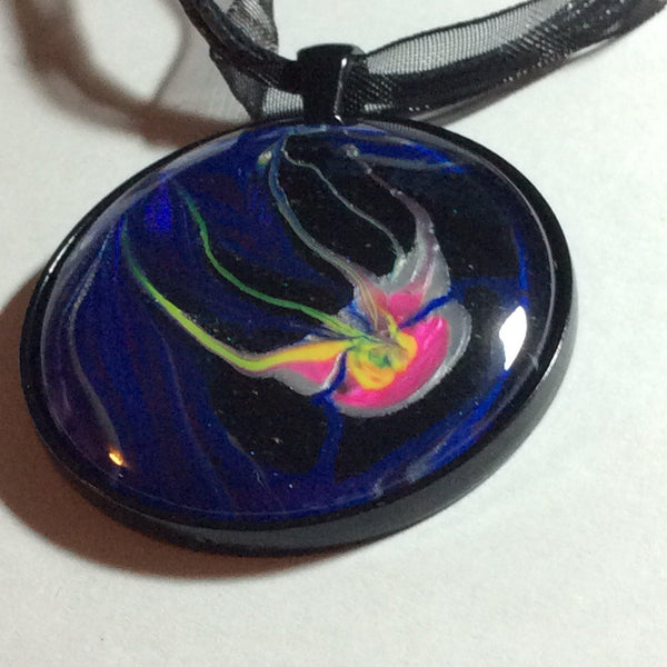 Hand Painted Pink Jellyfish Necklace