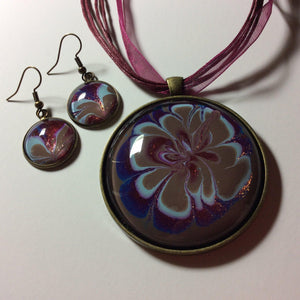Pendant Necklace and Earring Set, Purple, Brown & Blue Floral
