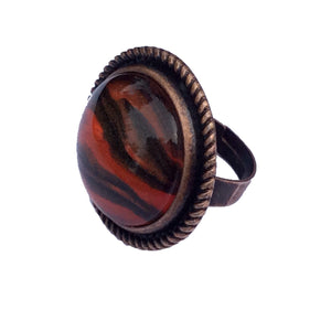 Ring, Tiger Inspired Statement Ring, Safari Style, Black Orange and Copper-Jewelry, Rings-Fullamoon Designs