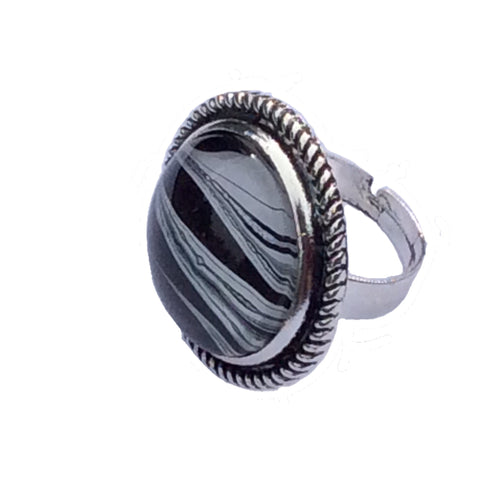 Ring, Zebra Inspired, Safari Style, Black White and Silver