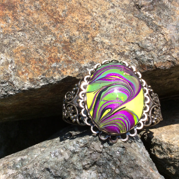 Bracelet,Purple, Green and Neon Yellow