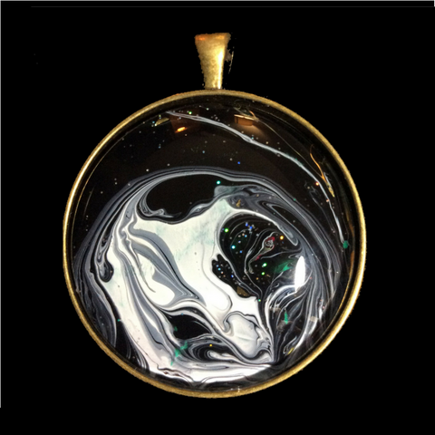Round Pendant Necklace, Galaxy Design-Jewelry-Fullamoon Designs