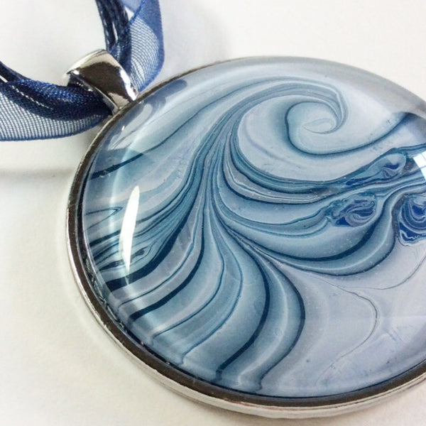 Blue Painted Wave on Glass Pendant
