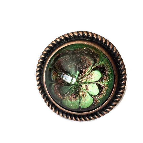 Ring, Green, Black, Gold and Copper-Jewelry-Fullamoon Designs