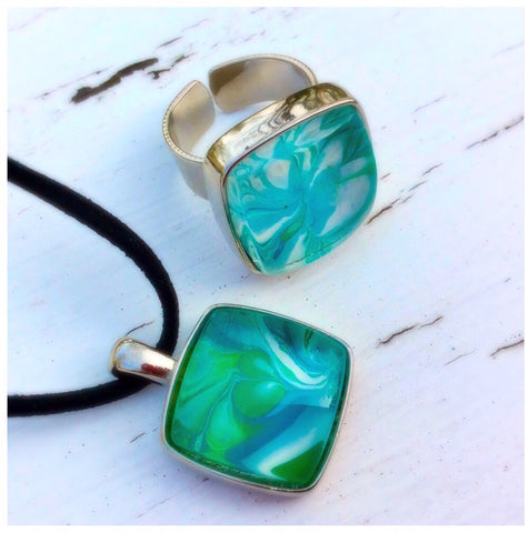 Pendant Necklace and Ring Set, Blue, Green, Lime and White-Jewelry-Fullamoon Designs