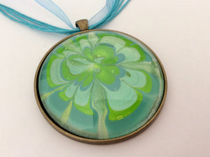 Large Round Pendant Necklace, Turquoise and Lime Flower-Jewelry-Fullamoon Designs