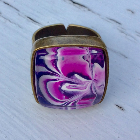 Ring, Pink Purple and White Floral Design-Jewelry-Fullamoon Designs