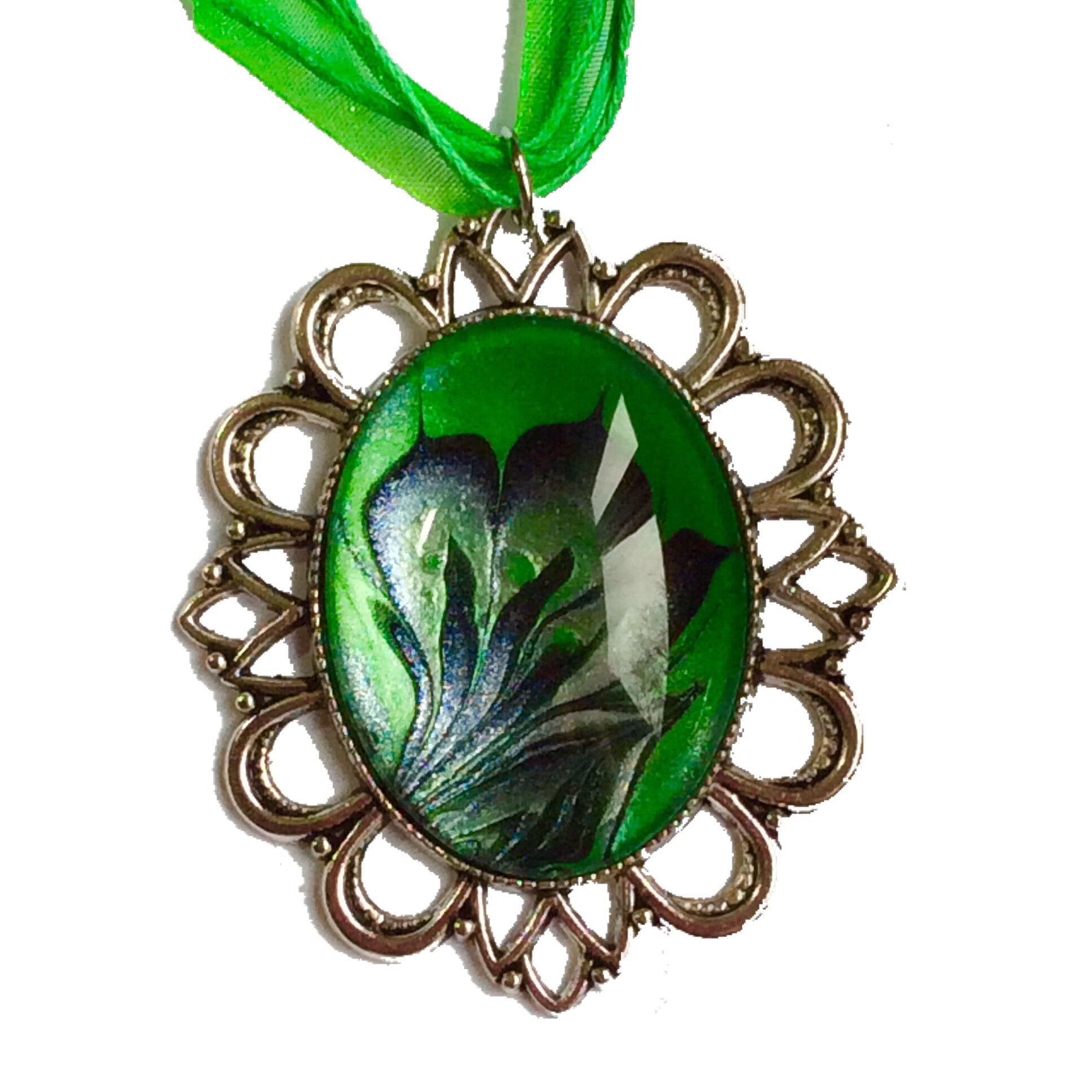Oval Pendant Necklace, Shades of Green, Black and Antiqued Silver-Jewelry-Fullamoon Designs