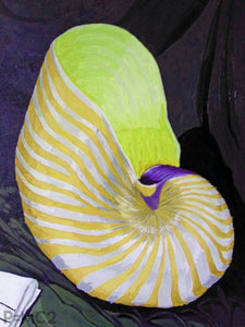 Nautilus Shell-Yellow-Fine Art Prints-Fullamoon Designs