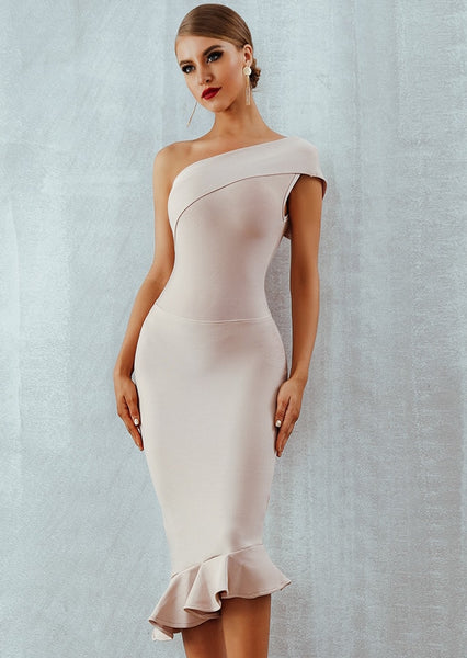 Dreamy Single Shoulder Evening Dress
