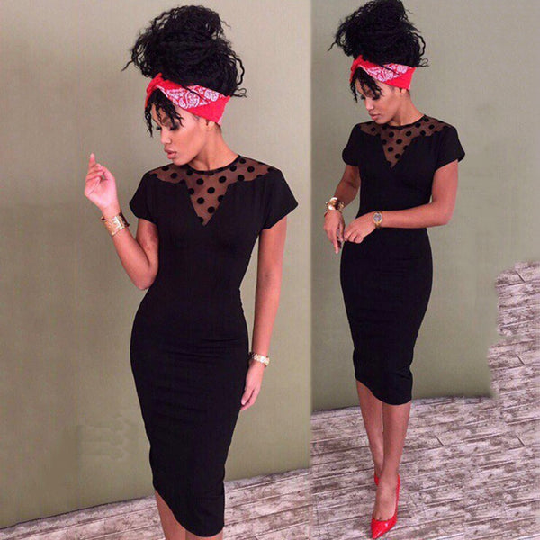 Dot-Pattern Lace Knee-Length Dress