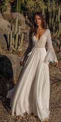 Fitshinling Backless lace long dress autumn 2018 v neck sexy hot bohemian maxi dresses for women flare sleeve white pareos sale