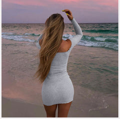 Knitted Off-The-Shoulder Short Dress