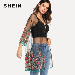 SHEIN Flower Embroidered Mesh Kimono Black Boho Longline Sexy Blouse Women Summer Beach Vacation  Long Sleeve Plain Kimono
