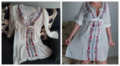 Summer Beach Tunic Cotton White Women Deep V Neck Embroidered Tape Trim Symmetric Flower Print Casual Belted Dress Ladies #N17