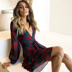 Uguest Summer Women Dress 2018 Sexy Deep V Neck Floral Printed Mini Party Dress Lady Beach Dresses Causal Long Sleeve