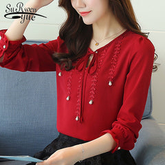 new 2018 fashion chiffon women shirt blouse long sleeves red women's clothing plus size V-neck beading women top blusas 80B 30