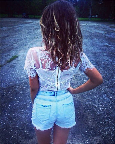 Zipper-Back Lace Crop-Top