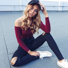 Sporty Girl Off-The-Shoulder Top
