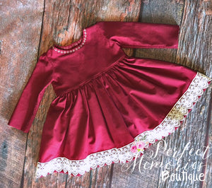 Classic Crimson Lace Dress