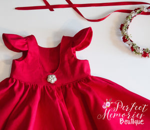 Classic Red Long Sleeve Party Dress