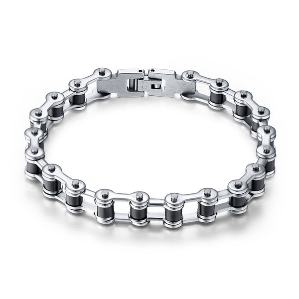 Top Quality Men's Bike Chain Bracelet  Stainless Steel Jewelry with Silicone IB29