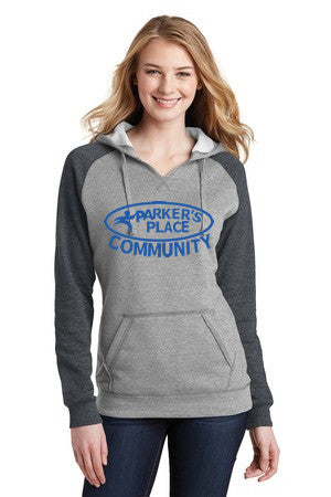 Parker's Place Ladies Lightweight Fleece Raglan Hoodie