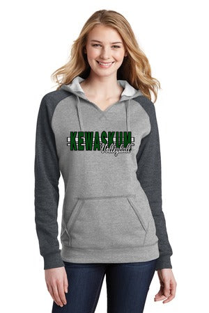 2017 Kewaskum Volleyball Ladies Lightweight Fleece Raglan Hoodie
