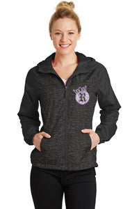 Reign Ladies Heather Colorblock Raglan Hooded Wind Jacket