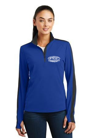 Parker's Place Ladies Sport-Wick Textured Colorblock 1/4-Zip Pullover