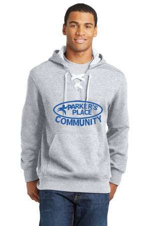 Parker's Place Lace Up Pullover Hooded Sweatshirt