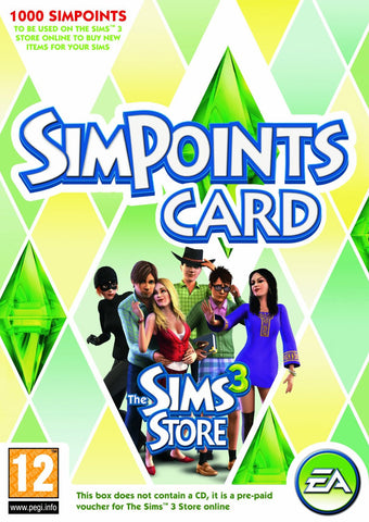 The Sims 3 Store 1000 Points Card - Digital Download - GameShop Asia
