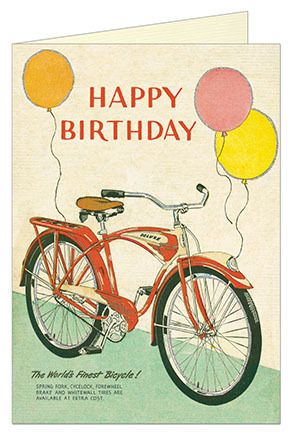 Happy Birthday Bike with Balloons Card