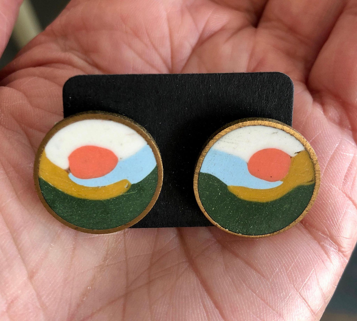 Landscape Button Earrings