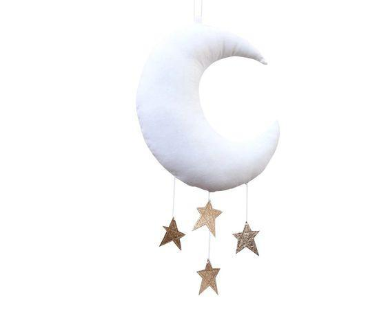 Moon & Stars Mobile - White/Bronze