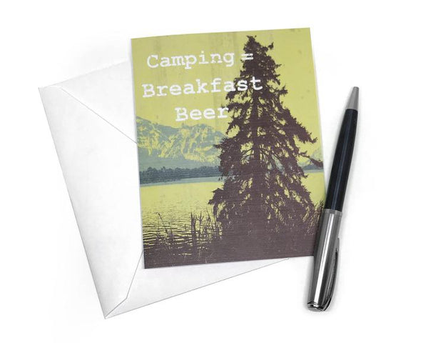 Camping Breakfast Beer Card