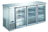 R290 UBB-24-72GSS, stainless 3 door back bar cooler