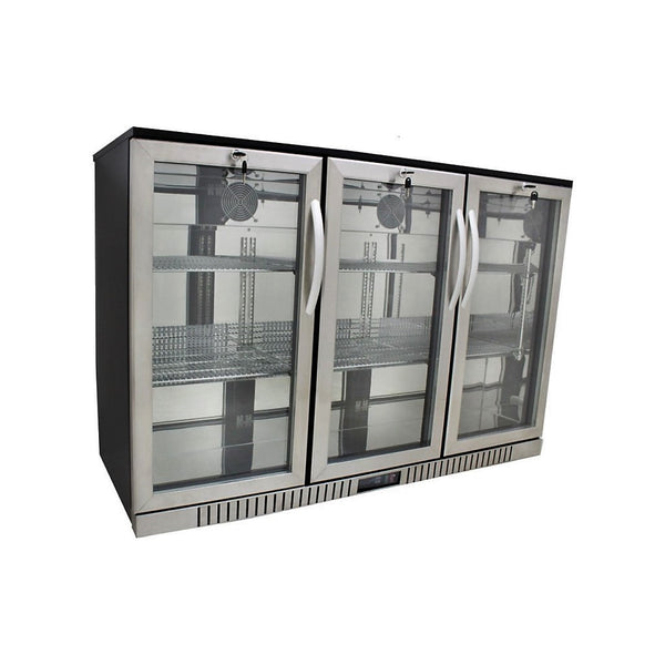 3-Door Back Bar Cooler - Stainless Steel