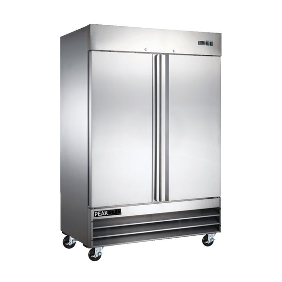 Peak Cold 2-Door Stainless Steel Commercial Freezer